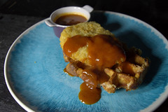 Fried Chicken Breast on Waffle with Katsu Gravy (Tony Worrall) Tags: add tag ©2018tonyworrall images photos photograff things uk england food foodie grub eat eaten taste tasty cook cooked iatethis foodporn foodpictures picturesoffood dish dishes menu plate plated made ingrediants nice flavour foodophile x yummy make tasted meal nutritional freshtaste foodstuff cuisine nourishment nutriments provisions ration refreshment store sustenance fare foodstuffs meals snacks bites chow cookery diet eatable fodder fried chicken breast waffle katsu gravy meat