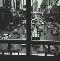 People and places (kateb0625) Tags: tourist highway perspective bridge street buildings downtown places people morningcommute traffic blackandwhite monochrome bus cars travel thailand city bangkok