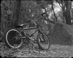 jeremys bike on 4x5 film (Garrett Meyers) Tags: rbgraflex4x5 garrettmeyers graflex 4x5film film filmphotographer graflex4x5 garrett meyers homedeveloped bmx trails bmxtrails dirtjumps bokeh blackandwhitefilm series lifestyle trailslife