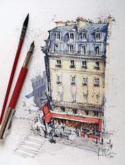 Paris café in the afternoon light. (alexhillkurtzart) Tags: urbansketch usk cafe paris