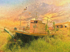 """Corfu 25 - """"High and dry"""" (Leigh (G7BHH) - """"Alive and Clicking!"""") Tags: derelictboat greece corfu painterly"""