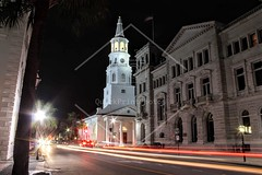 Broad Street at Night (QuickPrintPhotos) Tags: belltower clocktower church steeple tower building architecture charleston southcarolina city night nighttime lights sky street cars sc longexposure tree