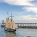 HMS Pickle enters Whitby harbour.