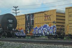 Searius, Atomik (NJphotograffer) Tags: graffiti graff trackside railroad rail art freight train bench benching box car boxcar searius atomik