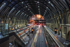 Busy King's Cross station at night (EricMakPhotography) Tags: train station london kingscross night hdr architectural europe unitedkingdom tunnel light track