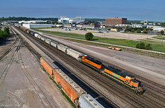 "Northbound Transfer in Kansas City, MO (""Righteous"" Grant G.) Tags: bnsf railway railroad emd kansas city missouri locomotive north northbound transfer yard job freight"