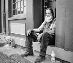 Times. (Henry Ani) Tags: streetphotography street beard man age sit drink blackandwhite black white monochrome baltimore maryland