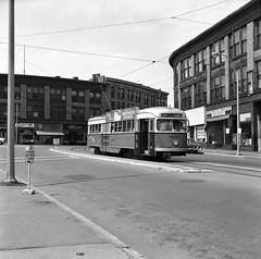 MTA PCC 3097 Tremont&WashingtonSts 8-17-1963 (ironmike9) Tags: trolley tram streetcar pcc transit publictransit track rail lightrail mbta bostonma mta