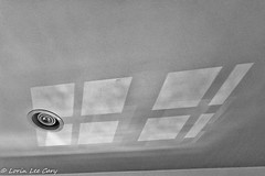 Ceiling Pattern (lorinleecary) Tags: patterns shadows shapes losangeles blackandwhite ceiling light