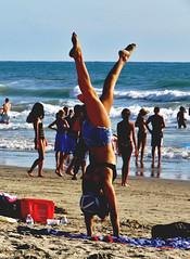 Handstand of Happiness, California Beach (moonjazz) Tags: balance happy beach girl legs california joy exuberate wow woman female terrific handstand ocean vacation people fun goodtimes celebrate