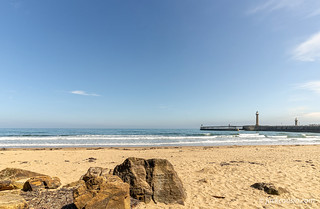 Whitby beach and pier.