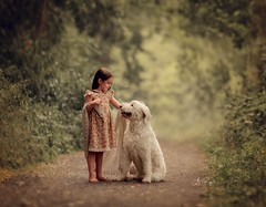 What do you think? should we do? (agirygula) Tags: girl dog girlwithdog vintage friends forest summer barfoot cardigan mind memories emotion cottage longhair beautiful