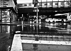 In The Pouring Summer Rain (Robert S. Photography) Tags: pavement rain summer bw subway vehicles lights rainyday brooklyn nyc sony dscwx150 iso100 july 2018