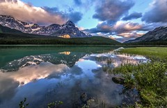 Mount Chephren on Waterfowl Lakes Sunrise Reflections (Cole Chase Photography) Tags: banffnationalpark icefieldsparkway alberta canada sunrise clouds reflections summer