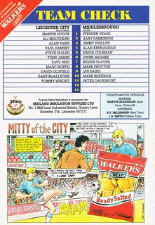 Leicester City vs Middlesbrough - 1990 - Back Cover Page
