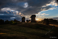 Windmills at sunset (Magda Banach) Tags: 19thcentury canon moraczewo windmill afterstorm blue clouds colors dramatic evening field greaterpoland green koźlak landscape nature outdoor outside panorama plants poland silhouette sky summer sunset trees canoneos5dmarkiv