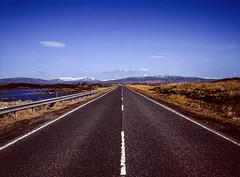 The cliché road shot, Scotland. (wojszyca) Tags: fuji gsw680iii 6x8 120 mediumformat fujinon sw 65mm fujichrome velvia 50 rvp50 epson v800 landscape road infinity mountains lake snow sky scenery scotland asphalt