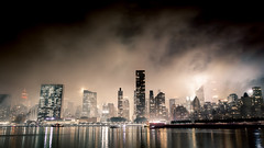 When The Smoke Clears (Tim Drivas) Tags: newyorkcity manhattan smoke gloomy night nightscape gothamist nyc skyline skyscrapers city cityscape citylights longexposure reflections