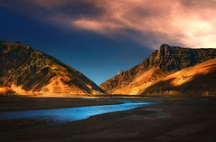 The Blue river .. (tchakladerphotography) Tags: nature naturallight atmosphere mood spiti river sky clouds himalaya hills shadow light india colorful highland