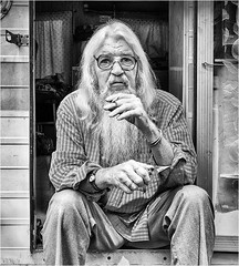 Morning smoko (beninfreo) Tags: northernterritory darwin rx100m3 rx100 sony square caravan smoko smoking contrast beard portrait white black mono blackandwhite