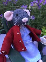 Tea time (Foxy Belle) Tags: mouse mice miniature poseable doll dollhouse nurse cray call midwife unifrom uniform relax tea time plants nature garden lavender