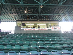 Delmont Miller Press Box at Grainger Stadium -- Kinston, NC, June 28, 2018 (baseballoogie) Tags: 062818 baseball baseball18 baseballpark ballpark stadium graingerstadium canonpowershotsx30is downeastwoodducks woodducks carolina league a milb kinston nc northcarolina