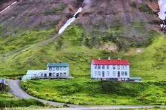 From Iceland. (Tóta. 27.12.1964.) Tags: landscape mountain houses grass snow hnífsdalur iceland ísland