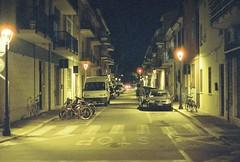 Rimini (goodfella2459) Tags: nikon f4 af nikkor 50mm f14d lens cinestill 800t 35mm c41 film night analog colour rimini italy streets road buildings light manilovefilm