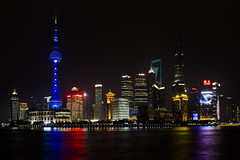 Shanghai skyline (Paul Cook59) Tags: cityscape nighscape shanghai china water light colour reflection city