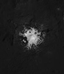 Cerealia Facula in Occator Crater (sjrankin) Tags: 18july2018 edited nasa grayscale dawn occatorcrater brightspot salt crater primage ceres cerealiafacula pia21924