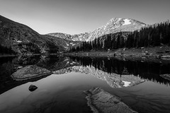Serenity (Peter Weckesser) Tags: timberlake bw sunrise monochrome places us reflection mountains sky colorado lake rockymountainnationalpark landscapes summer nationalpark things international