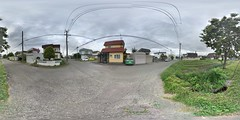 Our Neighborhood (sjrankin) Tags: 17july2018 edited kitahiroshima hokkaido japan panorama road cars houses 360degrees sky wires lines park playground 1202mb large