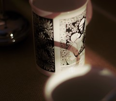 Where art thou.... (Phosphorescent - [fos-fuh-res-uh nt]) Tags: coffee mug romeo juliet romeoandjuliet shakespeare coffeecup morninglight light sunlight cafe shadow romance