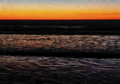 The Ocean of Night (Steve Taylor (Photography)) Tags: digitalart contrast black blue colourful brown yellow orange newzealand nz southisland canterbury christchurch northnewbrighton ocean pacific sea waves texture dawn winter sunrise