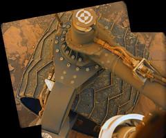 Apparently Undamaged Wheel, variant (sjrankin) Tags: 20july2018 edited nasa mars msl curiosity galecrater panorama wheel undercarriage rocks sand
