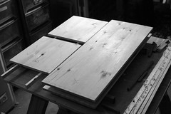 pine toolchest - marking out (btyreman) Tags: pine chest toolchest prep wood woodwork woodworking mono black white grey pencil light markingout joinery redwoodpine reddeal scotspine work dovetails dovetailchest dove tail