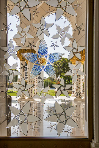 Stained and etched window, Sheikh Zayed Mosque, Abu Dhabi