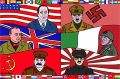 THE SECOND WAR (gabrielfuego!) Tags: illustrazione illustrator photoshop bandiere flags disegno drawing personaggi characters text testo