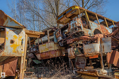 Rassokha (Mr Sovieticus) Tags: rassokha chernobyl zone decay rust industrial vehicles buses junkyard rusty abandoned
