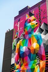 'Black Rainbow Lake' an OKUDART mural, Edmonton (WherezJeff) Tags: alberta canada crawfordblock edm edmonton instameet michaelmaxxis okudasanmiguel okudart oldstrathcona yeg downtown geometric mural spraypaint streetart ca d850
