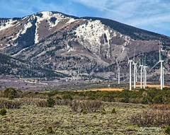 Wind Turbines with the Abajo Mountains in background, Monticello Utah (PhotosToArtByMike) Tags: windturbines abajomountains utah ut bluemountains theblues monticelloutah canyonlandsnationalpark monticello limestone erosion canyon scenic desert goldensandstone rockspires landscape rockformations desertlandscape