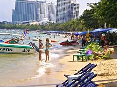 Around Pattaya (*SIN CITY*) Tags: boat transport pattaya lovepattayathailand sky sea beach girls scenery kim umbrella beachchair statue busker laundry bikini thailand totallythailand asia asian hilton tree pool fish legs speed thai