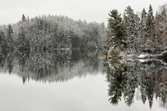 'Way Back When' (Canadapt) Tags: lake reflection trees shoreline placid mirror winter snow keefer canadapt