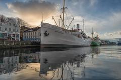 Rogaland in Stavanger Harbour (Hattifnattar) Tags: clouds reflection sunset pentax da15mm limited stavanger norway harbour rogaland vessel