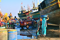 India- Diu (venturidonatella) Tags: india asia gujarat diu porto port ship nave navi barche boat ships colori colors nikon nikond300 d300 persone people gentes sari emozioni marinai barca acqua