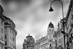 ° ° ° the streetlamp ° ° ° (christikren) Tags: austria architecture blackwhite christikren city bw building facade monochrome noiretblanc panasonic vienna wien roofs history downtown sky