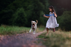 on the run (pipe notjustaphoto) Tags: rot little girl playing puppie dog catch run