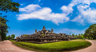 Panorama view of  the corner of Angkor Wat formed by the East and South Entrance fencing of the Angkor Wat Cambodia -22a