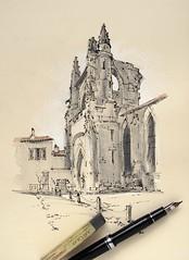The partially ruined church tower in Saint Martin, Île de Ré, France. (alexhillkurtzart) Tags: sketch urbansketch