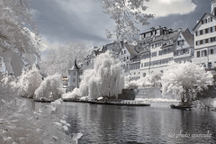 Tübingen - Hölderlin Tower (gporada) Tags: idyll white infrared nikon hölderlin tower germanpoet germany tübingen neckarriver travelling boats water hölderlinturm d40